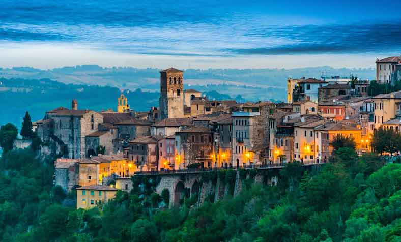 View of Narni, an ancient hilltown of Umbria, Italy