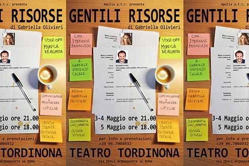 """Al Teatro Tordinona va in scena """"Gentili risorse"""" di Gabriella Olivieri."""