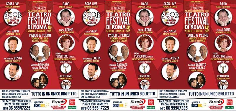 """Le Terrazze Teatro Festival di Roma primo appuntamento con la risata gli """"SCQR""""."""