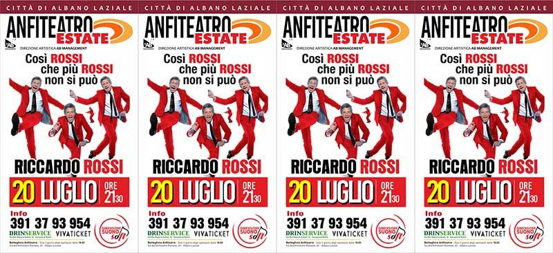 """Anfiteatro Albano Estate Riccardo Rossi in """"Così Rossi che più Rossi non si Può""""."""