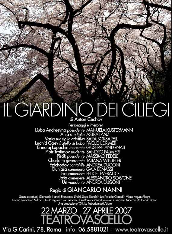 "Teatro Vascello ""Il Giardino dei Ciliegi""."